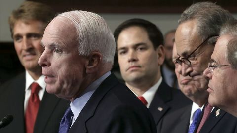 Sens. Jeff Flake, left, and Marco Rubio, center, didn't find a receptive audience among House conservatives for the Gang of Eight immigration reform plan.