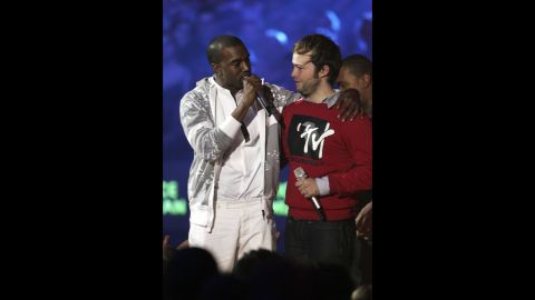 """<strong>November 2006: </strong>Kanye really doesn't like losing, and he reminded us of that at the MTV Europe Music Awards in November 2006, when he stage-crashed Justice vs. Simian's best video win for """"We Are Your Friends."""" Clearly, his video """"Touch the Sky"""" should've won because """"it cost a million dollars, and Pamela Anderson was in it.""""<a href=""""http://www.mtv.com/news/articles/1544794/kanye-had-sippy-sippy-before-emas.jhtml"""" target=""""_blank"""" target=""""_blank""""> Having a """"sippy sippy"""" pre-awards show</a> might convince one of such merits."""