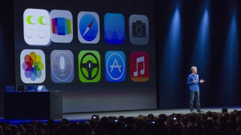 Apple's Craig Federighi introduces iOS 7 in June in San Francisco.