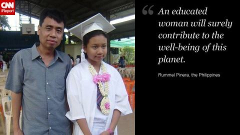 Rummel Pinera (with his daughter, Beatrice) wants his daughter to gain an education and benefit from the independence it brings.
