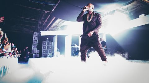 Kayne West performed during the Samsung Galaxy Notes II launch on October 24, 2012 in New York City.