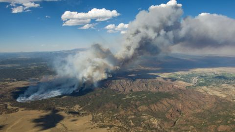 A wildfire burns in the Black Forest near Colorado Springs on June 11.