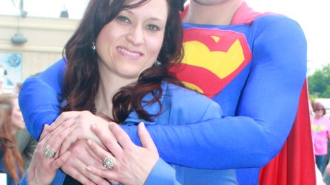 """<a href=""""http://ireport.cnn.com/docs/DOC-986894"""">Jamie Kelley, </a>here with his wife, Ronda, got married on October 9, 2009 - 13 years to the day after Clark Kent married Lois Lane in the comics. The couple often visits Metropolis, Illinois, for its annual <a href=""""http://www.cnn.com/2013/06/06/travel/town-where-superman-lives/"""">""""Superman Celebration."""" </a>As for why Superman has been such a big part of Kelley's life, he said the character has an aspirational quality he admires. """"The idea of what we can be, if we hold fast to our humanity, our hopes. Superman's embodiment of this is my favorite memory of the character, what draws me to him, and why he is so iconic."""""""