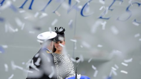 Ticker tape falls as Catherine, Duchess of Cambridge officially names Princess Cruises's new ship 'Royal Princess' in Southampton, England on Thursday, June 13.