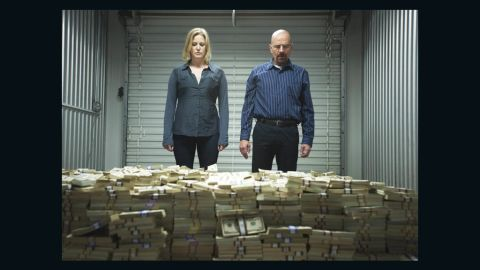 """Walt and wife Skyler (Anna Gunn), a reluctant accomplice in his tenuous drug empire, visit a storage unit where she reveals to him a massive stack of unlaundered cash. """"I want my life back,"""" she pleads. """"How big does this pile have to be?"""""""