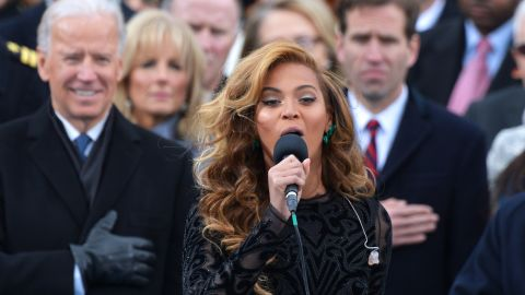 """Beyonce wowed the nation with <a href=""""http://www.cnn.com/video/#/video/politics/2013/01/21/inaug2013-sot-beyonce-national-anthem.cnn"""">a rendition</a> on Inauguration Day in January 2013. The singer later told reporters """"<a href=""""http://www.cnn.com/2013/01/31/showbiz/beyonce-super-bowl"""">she decided to sing along with my prerecorded track</a>,"""" a decision she made in part because she didn't have time to rehearse with the U.S. Marine Band and had had """"no proper sound check."""" But she wowed any doubters in her rehearsals and halftime show at the Super Bowl in February."""