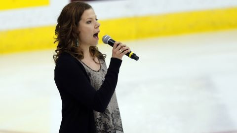 """Canadian singer Alexis Normand made headlines when she forgot the words to """"The Star-Spangled Banner"""" at a hockey game in May 2013. Normand, pictured performing at a later game, <a href=""""https://twitter.com/Alex6Normand"""" target=""""_blank"""" target=""""_blank"""">tweeted she was sorry</a>."""