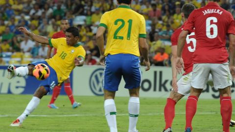 England was Brazil's first opponent at a refurbished Maracana earlier this month. A half-volley from midfielder Paulinho, pictured, rescued a 2-2 draw for the 2014 World Cup host.
