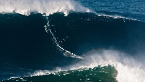 The father-of-three already broke the Guinness World Record for surfing the biggest wave ever -- a 24-meter swell in Nazare Portugal -- two years earlier. Nazare features a 5,000-meter-deep underwater canyon, churning up some of the largest and most dangerous waves on the planet.