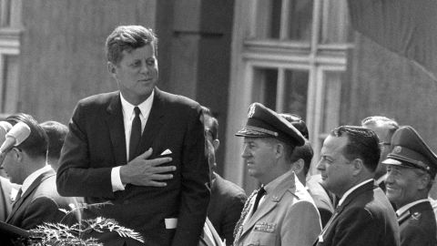 Picture taken on June 26, 1963 shows then US President John F Kennedy giving a speech at the Schoeneberg city hall in Berlin.