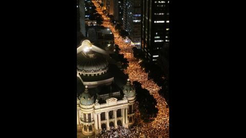 Thousands participate in the protest in Rio de Janeiro on June 17.