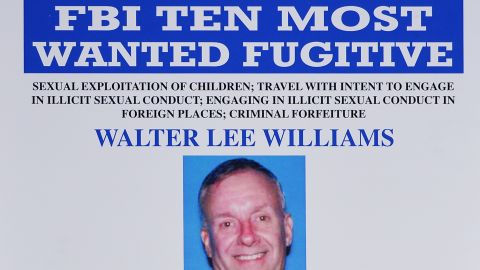 A FBI wanted poster for alleged child sex predator  Walter Lee Williams is pictured on Monday.