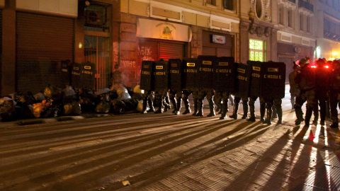 Riot police take positions during a protest in Sao Paulo on Tuesday, June 18.