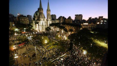 Students gather at Praca da Se in Sao Paulo on June 18.