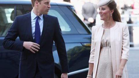 Prince William, Duke of Cambridge and Catherine, Duchess of Cambridge arrive for a service of celebration to mark the 60th anniversary of the Coronation Queen Elizabeth II at Westminster Abbey on June 4, 2013 in London, England.