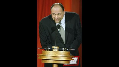 Gandolfini speaks at the 9th Annual Critics' Choice Awards gala at the Beverly Hills Hotel in 2004.
