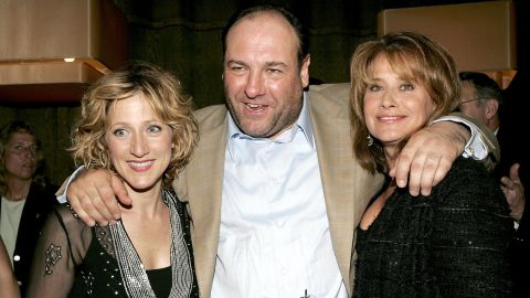 """Gandolfini with Edie Falco, left, and Lorraine Bracco at the DVD launch party for """"The Sopranos: The Complete Fifth Season"""" in 2005 in New York."""