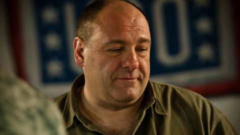 Gandolfini visits with service members and civilians on Kandahar Air Field, Afghanistan, on March 29, 2010, during a USO tour.