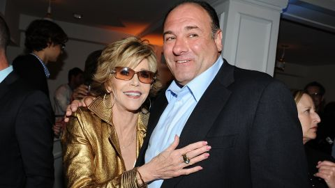 """Gandolfini and Jane Fonda attend an after-party for the HBO series """"Newsroom"""" in Hollywood on June 20, 2012."""