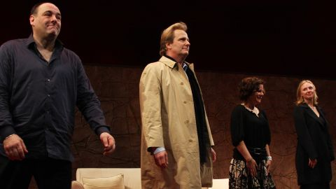 """Gandolfini, Jeff Daniels, Marcia Gay Harden and Hope Davis during the curtain call of the opening of the Broadway play """"God of Carnage"""" on March 22, 2009, at the Broadway Theatre in New York."""