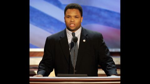 Jackson addresses the 2004 Democratic National Convention in Boston in July 2004. The son of the civil rights leader was once viewed as a rising political star.