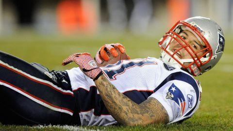 Hernandez looks up after being tackled during a game in Philadelphia on November 27, 2011.