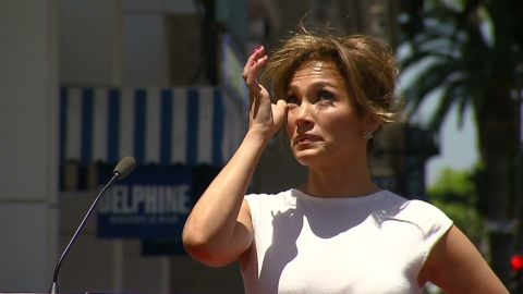 Jennifer Lopez tears up during her speech during a ceremony where her star on the Hollywood Walk of Fame was unveiled. Los Angeles June 20, 2013.