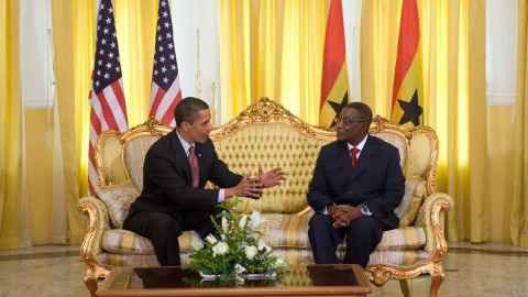 President Barack Obama speaks with Ghanaian President John Atta-Mills at Osu Castle, the government headquarters and a former slave trading fort, in Accra, Ghana, on July 11, 2009.