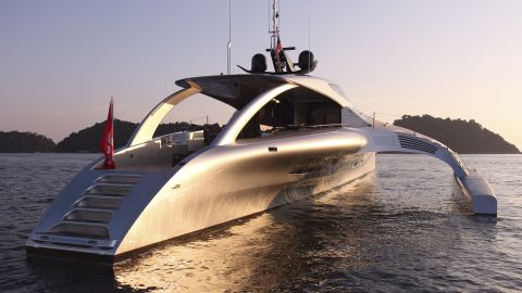 """""""You may think it looks unusual, but it's very logical to us -- the big aim was to create an ocean-going boat with good fuel consumption,"""" said co-designer John Shuttleworth."""
