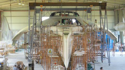 "The award-winning superyacht ""Adastra"" being built in 2013."