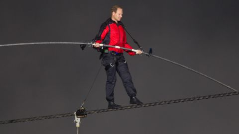 The seventh-generation aerialist crosses Niagara Falls in June 2012. The tense 1,800-foot journey took 25 minutes, a CNN affiliate reported.
