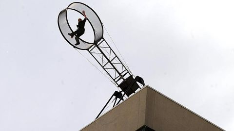 """Wallenda performs a """"Wheel of Death"""" stunt at the Tropicana Casino and Resort in Atlantic City in April 2011."""
