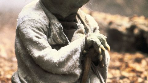 """Yoda, here seen in """"The Empire Strikes Back,"""" is a wise and powerful Jedi Master who takes over Luke Skywalker's training. His voice was provided by Muppet great Frank Oz."""