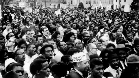 """Marchers during the 1965 voting rights campaign in Selma, Alabama gather for a rally on March 26, 1965, a few weeks after """"Bloody Sunday."""" Black residents were beaten, fired from their jobs and imprisoned trying to vote."""