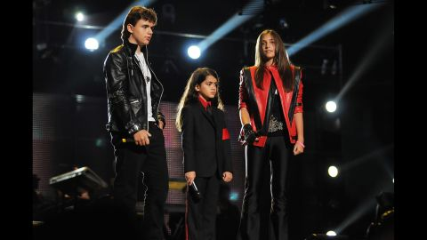 """Prince, Blanket and Paris once again honor their father's fashion and legacy at the """"Michael Forever Tribute Concert"""" in Wales in 2011."""