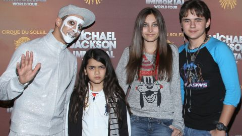 """Blanket, Paris and Prince at the Los Angeles premiere of Michael Jackson """"The Immortal"""" tour in 2012."""