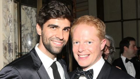 """Attorney Justin Mikita, left, and """"Modern Family"""" star Jesse Tyler Ferguson announced their engagement in 2012 via their website <a href=""""http://tietheknot.org/"""" target=""""_blank"""" target=""""_blank"""">tietheknot.org</a> and then married in July 2013. Their foundation sells ties with the proceeds going to organizations that support same-sex marriage. The pair have been outspoken <a href=""""http://www.cnn.com/2012/11/15/showbiz/celebrity-news-gossip/jesse-tyler-ferguson-tie-knot/index.html"""" target=""""_blank"""">about their advocacy. </a>"""