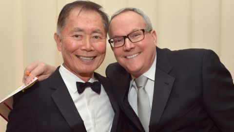 """Several of George Takei's """"Star Trek"""" co-stars attended the ceremony when he married longtime partner Brad Altman, right, in 2008."""