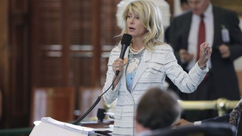 Sen. Wendy Davis, D-Fort Worth, speaks as she begins a filibuster in an effort to kill an abortion bill, Tuesday, June 25, 2013, in Austin, Texas. The bill would ban abortion after 20 weeks of pregnancy and force many clinics that perform the procedure to upgrade their facilities and be classified as ambulatory surgical centers.  (AP Photo/Eric Gay)