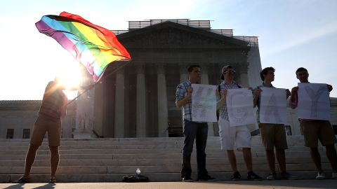 WASHINGTON, DC - JUNE 26: Gay rights activists gather in front of the U.S. Supreme Court building, June 26, 2013 in Washington DC. Today the high court is expected to rule on California's Proposition 8, the controversial ballot initiative that defines marriage as between a man and a woman (Photo by Mark Wilson/Getty Images)