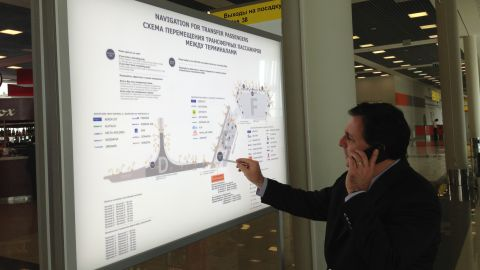 CNN's John Defterios and his crew have been inside the transit zone of Sheremetyevo International Airport for more than 24 hours. Like Edward Snowden, he cannot step foot on Russian soil without special visa clearance. Pictured here on June 26, Defterios surveys part of his new land: Terminals D, E and F.