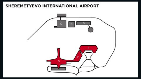 The international transit zone includes Terminals D, E and F. The rest of the airport is off-limits to anyone without a Russian visa, including Snowden.