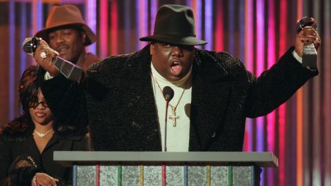 """Just a year after the loss of Tupac, hip-hop weathered the death of another giant of the genre, Notorious B.I.G. <a href=""""http://www.cnn.com/2012/12/07/showbiz/notorious-big-autopsy/index.html?iref=allsearch"""" target=""""_blank"""">The rapper was shot and killed at 24</a> while leaving a music industry party in March 1997. Like Tupac's, his slaying remains unsolved."""