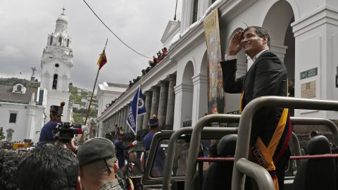 Ecuadorean President Rafael Correa arrives at the Carondelet Presidential Palace in Quito on May 24, 2013 after being sworn in to a second term Friday, with energy reform and expanded overseas trade topping his agenda. AFP PHOTO/Pablo COZZAGLIOPABLO COZZAGLIO/AFP/Getty Images