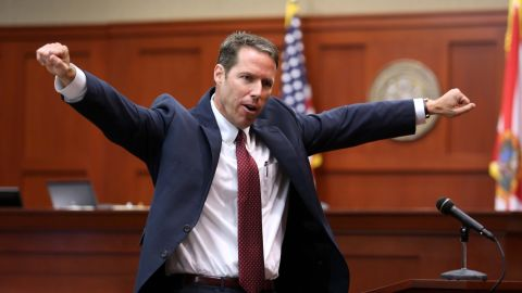 """Prosecutor John Guy gestures during his opening arguments on June 24. His first words to the six-woman jury may have raised a few eyebrows. """"Good morning. 'F*****g punks, these a******s all get away,'"""" Guy quoted Zimmerman. """"These were the words in this grown man's mouth as he followed this boy that he didn't know. Those were his words, not mine."""""""