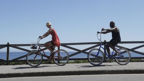 A couple bikes along the oceanfront in Santa Cruz on June 27.