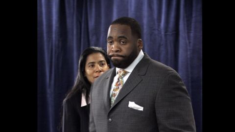 """Here, Smith is seen with Detroit Mayor <a href=""""http://www.cnn.com/2013/03/11/justice/michigan-kilpatrick-verdict"""" target=""""_blank"""">Kwame Kilpatrick</a> in 2008.  She was his spokeswoman when he was charged with perjury and other counts after sexually explicit text messages surfaced, appearing to contradict his sworn denials of an affair with a top aide. Kilpatrick resigned as mayor in 2008 and was convicted of several federal charges, including racketeering conspiracy, extortion and the filing of false tax returns."""