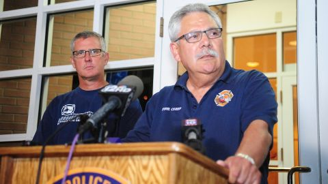 Prescott, Arizona, Fire Chief Dan Fraijo gives a news conference in Prescott confirming that 19 firefighters died while fighting the Yarnell Hill Fire on June 30.