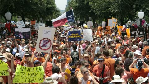Abortion-rights demonstrators gather at the state Capitol on July 1, 2013.
