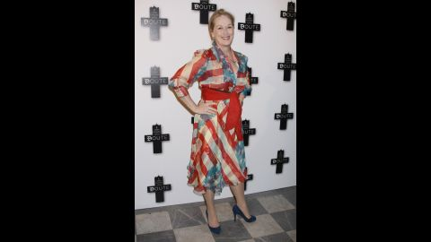 """Meryl Streep leaves no """"Doubt"""" about her U.S. pride at that movie's Paris premiere in January 2009."""